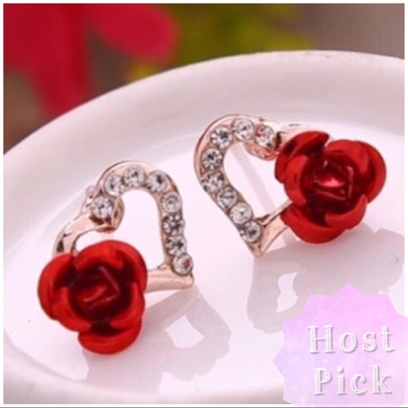 Jewelry - ARRIVED! Hollow Heart and 3D Rose Earrings